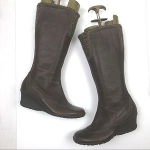 Merrell Leather Tall Larkspur Wedge Vibram Boots